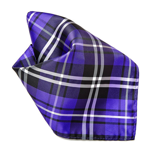 Purple Black White Plaid Design Men's Hankerchief Pocket Square Hanky