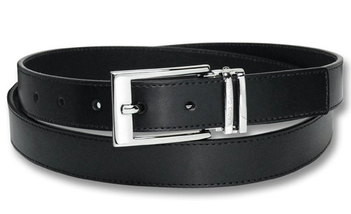 Biagio Men's Solid BLACK Bonded Leather Dress Belt with Silver-Tone Buckle