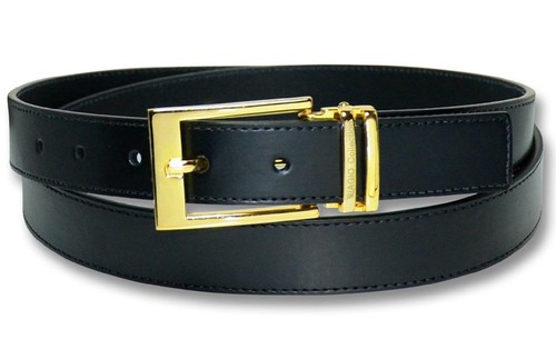 Biagio Men's Solid BLACK Bonded Leather Dress Belt with Gold-Tone Belt Buckle