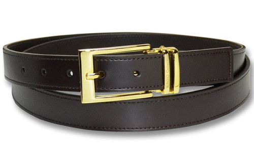 Biagio Men's Solid BROWN Bonded Leather Dress Belt with Gold-Tone Buckle