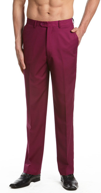 Men's Dress Pants Trousers Flat Front Slacks BURGUNDY CONCITOR