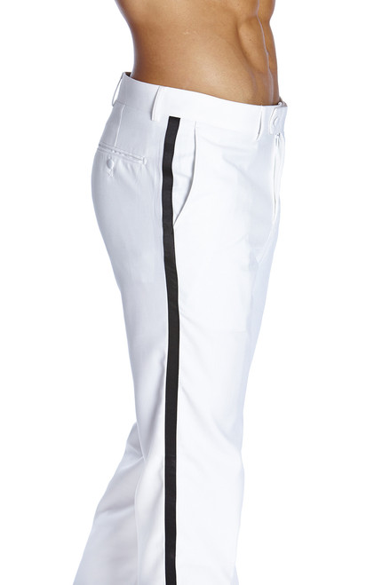 Men's TUXEDO Pants Flat Front with BLACK Satin Band WHITE CONCITOR