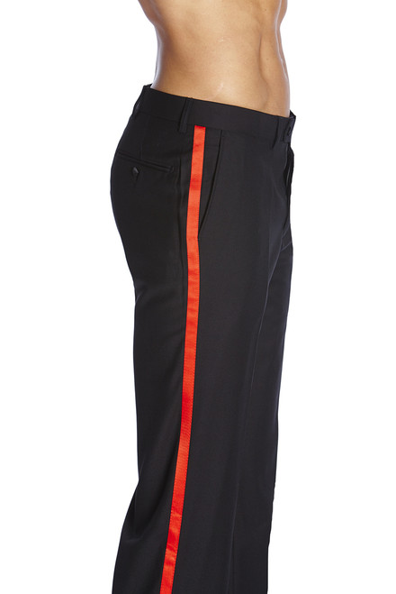 Men's TUXEDO Pants Flat Front with RED Satin Band BLACK CONCITOR