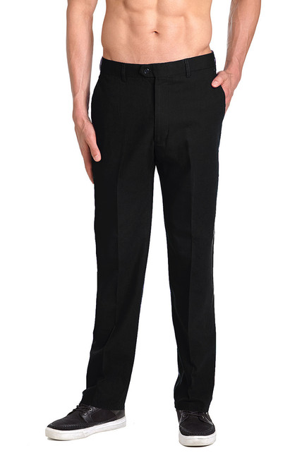 Linen Men's Dress Pants Trousers Flat Front Slacks BLACK CONCITOR