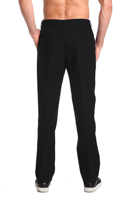 Linen Men's Dress Pants Trousers Flat Front Slacks BLACK CONCITOR