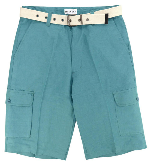 CONCITOR Men's Linen Cargo Shorts Flat Front Solid Turquoise BLUE Color Short & Belt