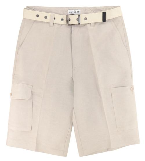 CONCITOR Men's Linen Cargo Shorts Flat Front Solid KHAKI TAN Color Short & Belt