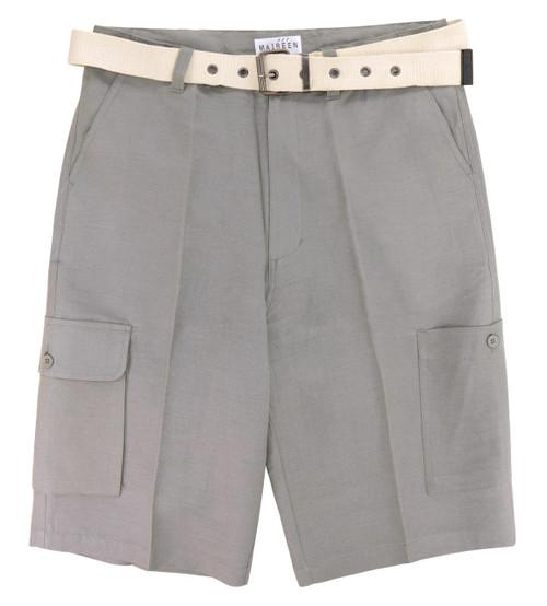 CONCITOR Men's Linen Cargo Shorts Flat Front Solid GRAY Color Short & Men's Belt