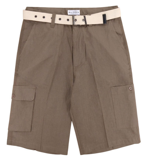 CONCITOR Men's Linen Cargo Shorts Flat Front Solid Coffee BROWN Short & Belt