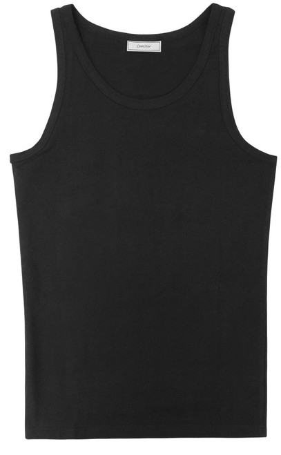 CONCITOR Collection Men's Tank Top 100% Cotton A-Shirt Solid BLACK Color