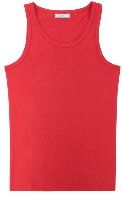 CONCITOR Collection Men's Tank Top 100% Cotton A-Shirt Solid RED Color