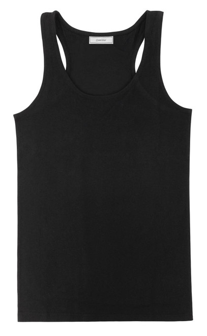 CONCITOR Collection Women's Tank Top 100% Cotton A-Shirt Solid BLACK Color