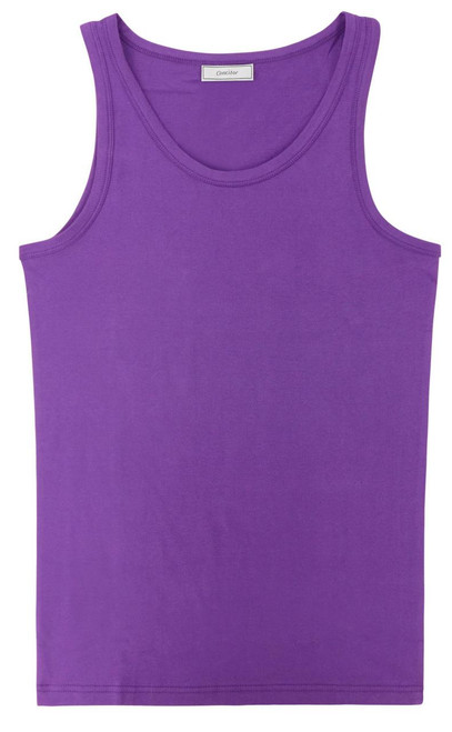 CONCITOR Women's Tank Top 100% Cotton A-Shirt Solid PURPLE INDIGO Color