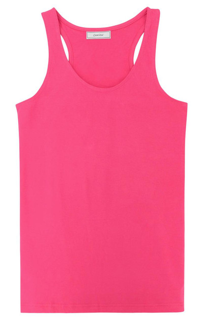 CONCITOR Collection Women's Tank Top 100% Cotton A-Shirt Solid HOT PINK Color