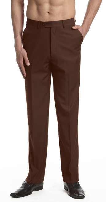 Men's Dress Pants Trousers Flat Front Slacks CHOCOLATE BROWN CONCITOR