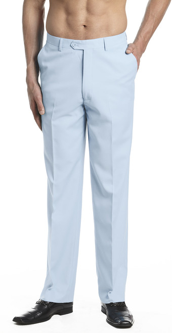 Men's Dress Pants Trousers Flat Front Slacks BABY BLUE CONCITOR