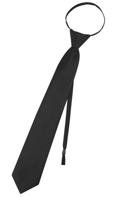 Vesuvio Napoli PreTied Necktie Solid BLACK Color Adjustable Neck Tie Design