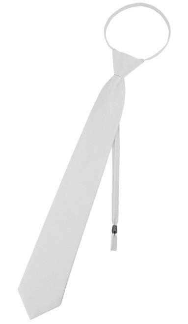 Vesuvio Napoli PreTied Necktie Solid SILVER GRAY Adjustable Neck Tie Design