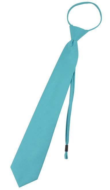 Vesuvio Napoli PreTied Necktie Solid TURQUOISE BLUE Adjustable Neck Tie Design