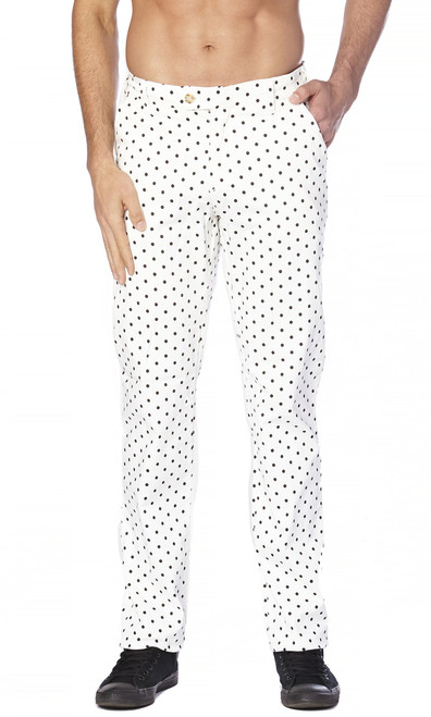 CONCITOR Collection Men's Dress Pants POLKA DOT Design WHITE Color Black Dots