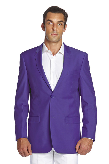 CONCITOR Men's Suit Jacket Separate Blazer Coat Solid PURPLE INDIGO Two Button Style