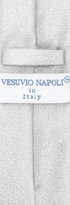"Vesuvio Napoli Narrow Necktie Metallic SILVER 2.5"" Skinny Thin Men's Neck Tie"