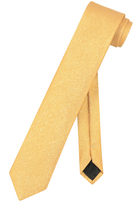 "Vesuvio Napoli Narrow Necktie Metallic GOLD 2.5"" Skinny Thin Men's Neck Tie"