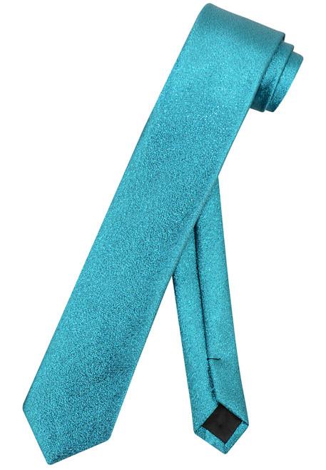 """Vesuvio Napoli Narrow Necktie Metallic TURQUOISE BLUE 2.5"""" Skinny Thin Neck Tie"""