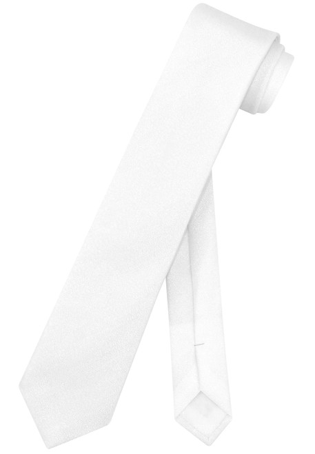 "Vesuvio Napoli Narrow Necktie Metallic PEARL WHITE 2.5"" Skinny Thin Neck Tie"