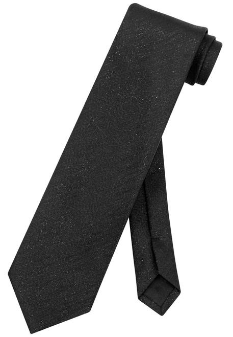 Vesuvio Napoli NeckTie Solid BLACK Metallic Color Design Men's Neck Tie