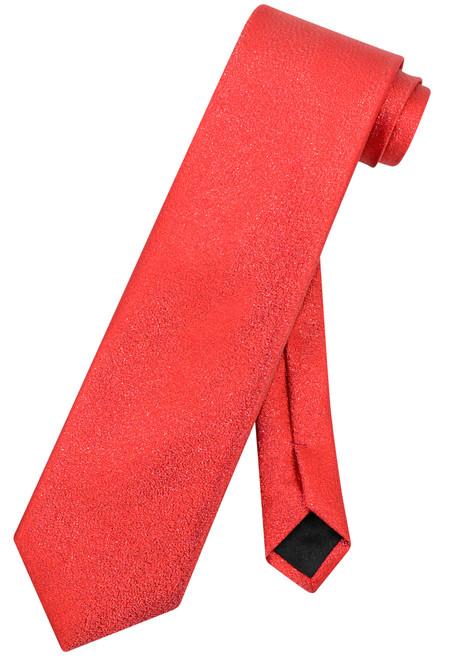 Vesuvio Napoli NeckTie Solid RED Metallic Color Design Men's Neck Tie