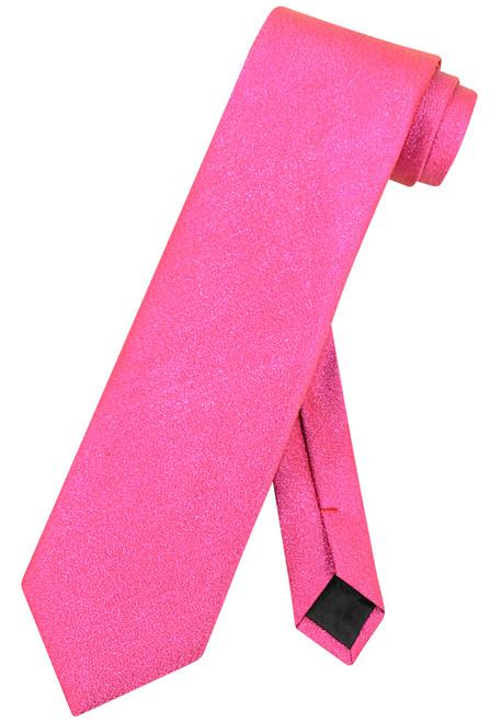 Vesuvio Napoli NeckTie Solid HOT PINK Metallic Color Design Men's Neck Tie