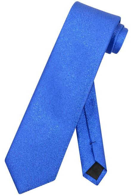 Vesuvio Napoli NeckTie Solid ROYAL BLUE Metallic Color Design Men's Neck Tie