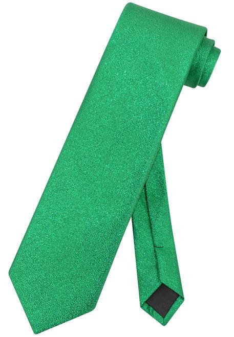 Vesuvio Napoli NeckTie Solid GREEN Metallic Color Design Men's Neck Tie