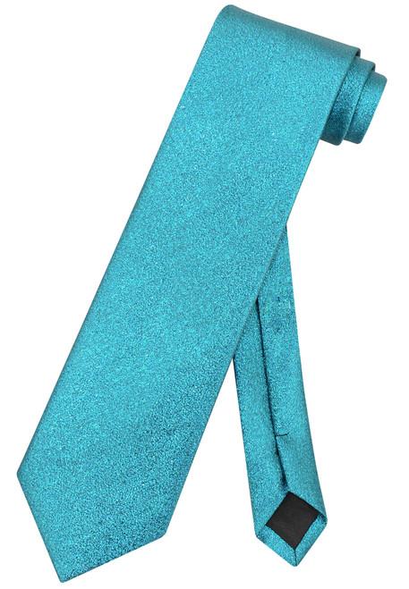 Vesuvio Napoli NeckTie Solid TURQUOISE BLUE Metallic Color Design Men's Neck Tie