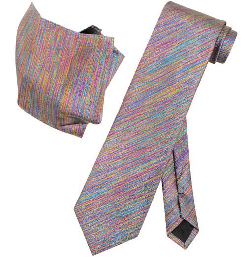 Vesuvio Napoli SPECTRUM Metallic NeckTie & Handkerchief Matching Neck Tie Set