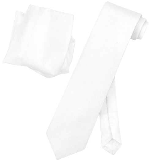 Vesuvio Napoli PEARL WHITE Metallic NeckTie & Handkerchief Matching Neck Tie