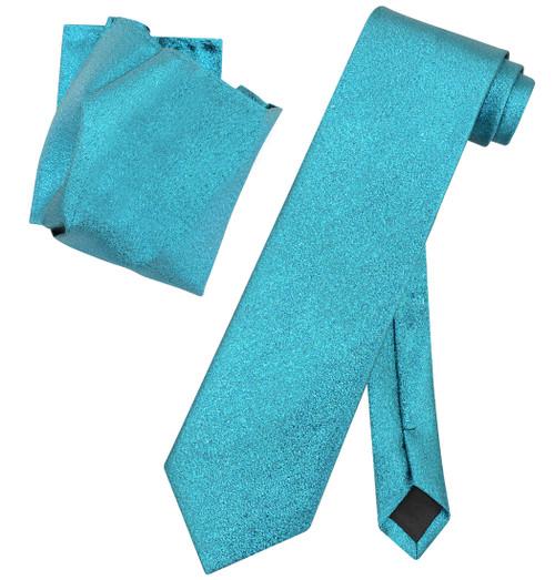 Vesuvio Napoli TURQUOISE BLUE Metallic NeckTie & Handkerchief Matching Neck Tie
