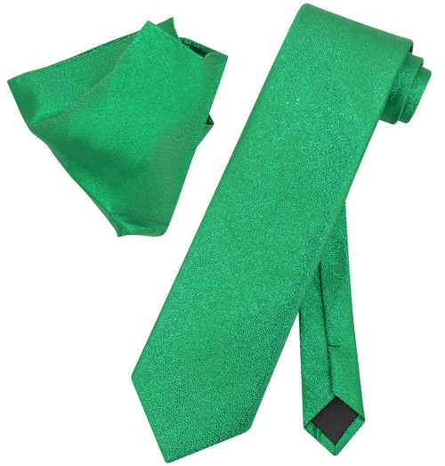 Vesuvio Napoli GREEN Metallic NeckTie & Handkerchief Matching Neck Tie Set
