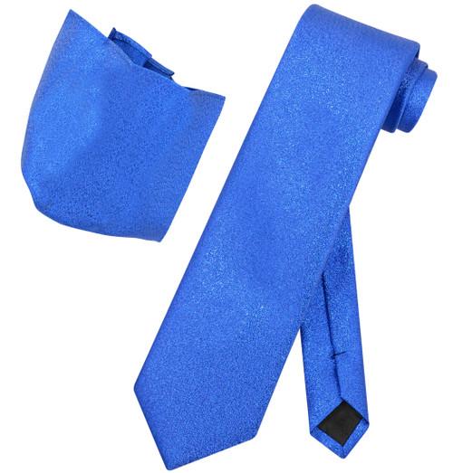 Vesuvio Napoli ROYAL BLUE Metallic NeckTie & Handkerchief Matching Neck Tie Set