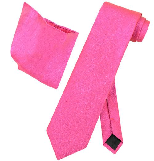 Vesuvio Napoli HOT PINK Metallic NeckTie & Handkerchief Matching Neck Tie Set