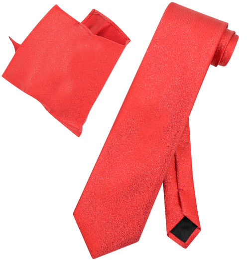 Vesuvio Napoli Solid RED Metallic NeckTie & Handkerchi​ef Matching Neck Tie Set
