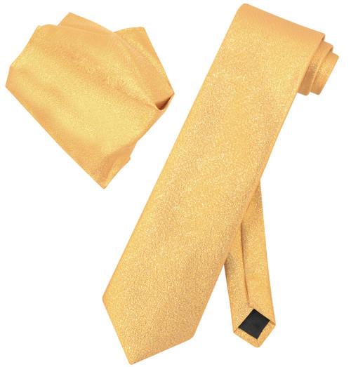 Vesuvio Napoli Solid GOLD Metallic NeckTie & Handkerchief Matching Neck Tie Set