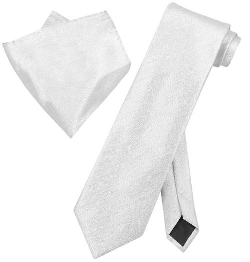 Vesuvio Napoli SILVER Metallic NeckTie & Handkerchief Matching Neck Tie Set