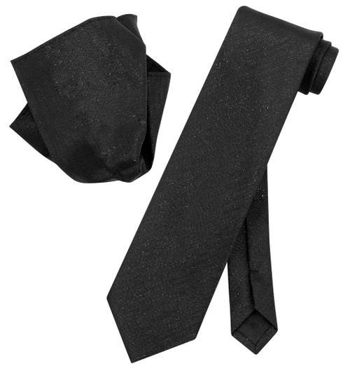 Vesuvio Napoli BLACK Metallic NeckTie & Handkerchief Matching Neck Tie Set