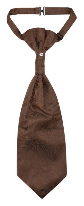 Vesuvio Napoli PreTied ASCOT Paisley Solid BROWN Color Cravat Men's Neck Tie
