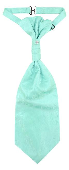 Vesuvio Napoli PreTied ASCOT Paisley AQUA GREEN Color Cravat Men's Neck Tie