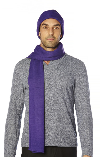 CONCITOR Brand Knit Cap Solid PURPLE INDIGO Beanie Hat and Scarf Shawl Wrap Set