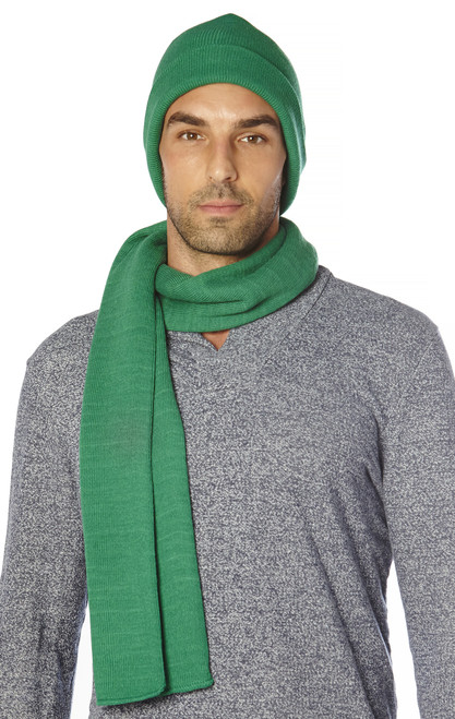 CONCITOR Brand Knit Cap Solid EMERALD GREEN Beanie Hat and Scarf Shawl Wrap Set