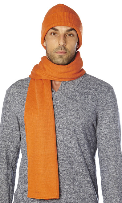 CONCITOR Brand Knit Cap Solid BURNT ORANGE Beanie Hat and Scarf Shawl Wrap Set